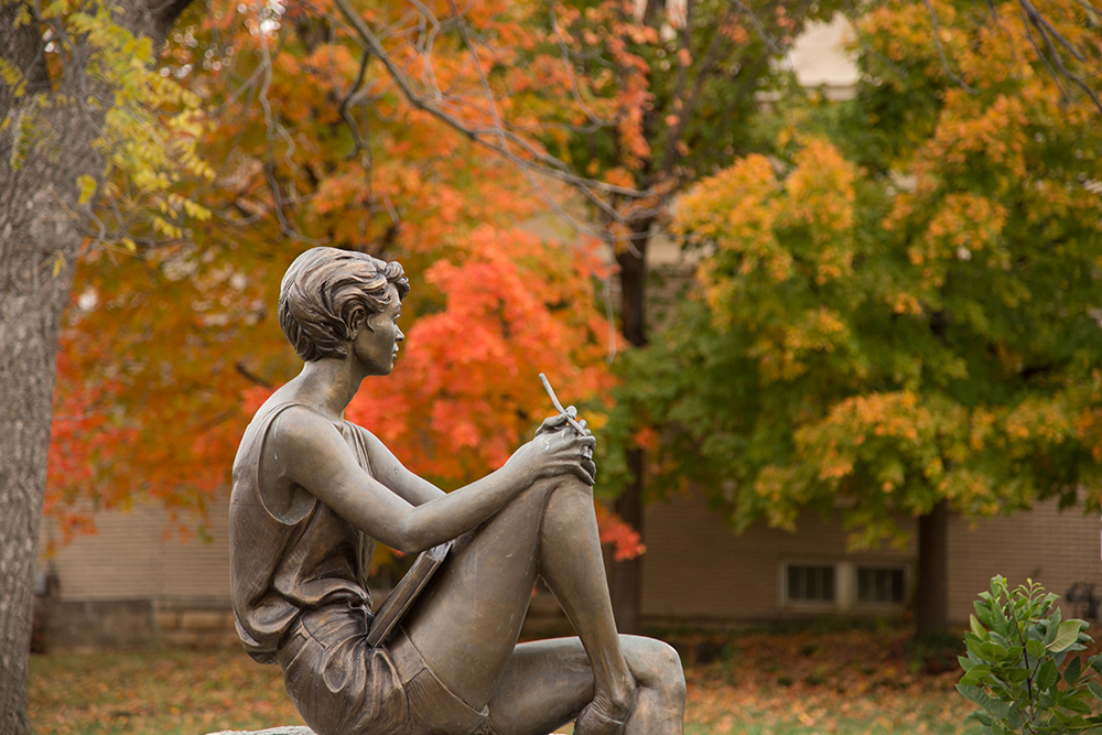 Statue in autumn